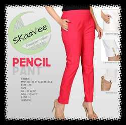 Plain Botton Slit Cotton Pencil Pants