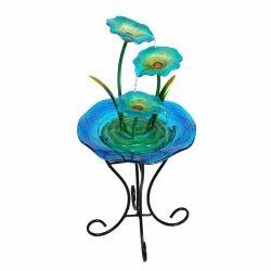 3 Blue Flower Glass
