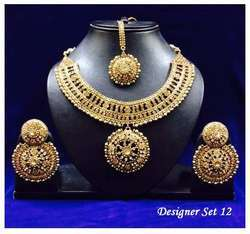 Golden Beautiful Necklace Set For Ladies
