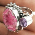Personable Sheen Rainbow Moonstone Silver Jewelry Ring