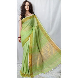 Light Green Linen Handloom Saree
