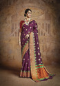 Silk Blend Embroidered Party Wear Saree