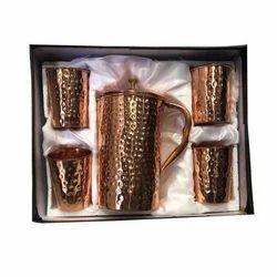Copper Hammered Jug Gift Set