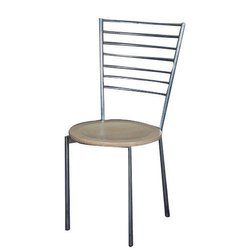 Stainless Steel and Wooden Brown Restaurant Chair, Size: 3-3.5 Feet