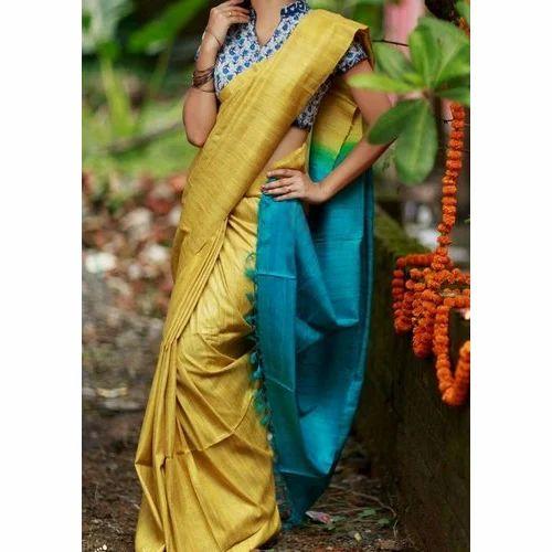 35165b8ba01a48 Party Wear Plain Khadi Silk Sarees In Corn Yellow And Blue