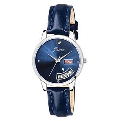 Women Round Blue Dial Day and Date Analog Watches