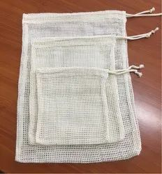 Organic Cotton Vegetable Bags, Packaging Type: Set, Size: 20x25cm