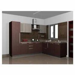 Acrylic Golden Modular Kitchen