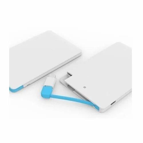 White, Blue Credit Card Shape Power Bank 4000 MAH