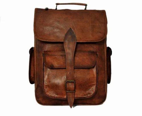 Brown Handmade Genuine Leather Laptop Backpack for Men