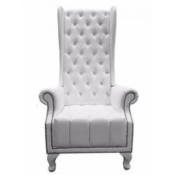 White Wooden Designer Sofa Chair, Back Style: High Back