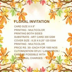 Pull-Out Insert Multicolor Floral Wedding Cards, Size: 8 X 8 Inch