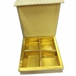 Golden Rexine Paper Chocolate Gift Box, for Packaging