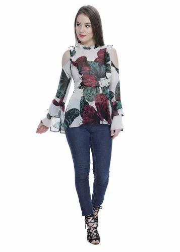 5474c8033e255 Multicolor Georgette Ruffle Sleeve Cold Shoulder Top