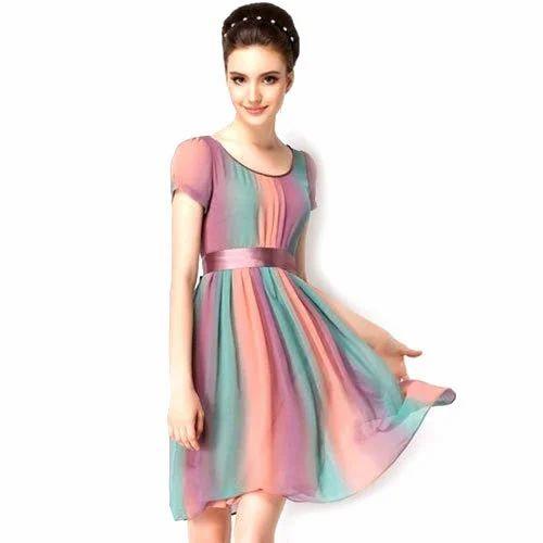 96c9f9d1ea Half Sleeves Printed Western Frock One Piece Dress