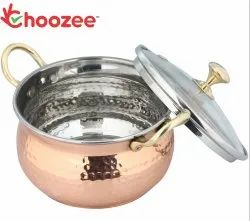 Choozee - Copper Steel Serving Handi with Glass Lid (1400 ml)