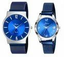 Jainx Blue Mesh Chain Magnet Closure Analog Watch for Couple - JC482
