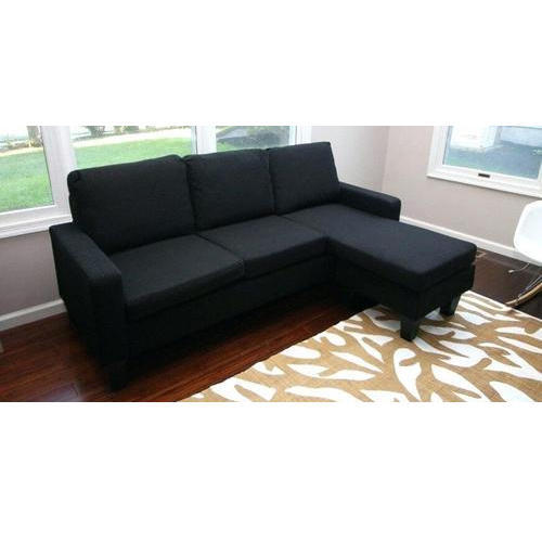 Rich Black Cloth Contemporary Sectional