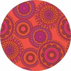 Printed Red Rangoli Dining Table Mat, Size: 15 inch