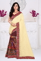 Beige And Brown Color Designer Pallu  Half And Half Georgette Saree