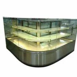 L Shape Flat Glass Display Counter
