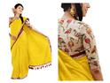Girls Chanderi Cotton Saree (1208-D_Yellow)