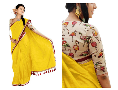 1015638db6 Yellow Printed Girls Chanderi Cotton Saree (1208-D_Yellow), Rs 599 ...