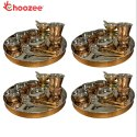 Choozee - Copper Thali Set of 4 (40 Pcs)Thali, Bowl, Spoon, Matka Glass and Ice-Cream Cup