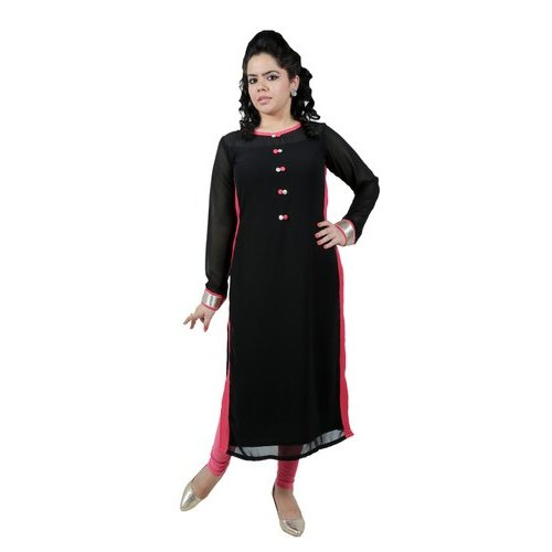 094d3bec1af6 Casual Wear Plain Ladies Georgette Black And Red Kurti, Rs 375 ...