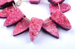 Sparkling Druzy 6 Beads 12x24mm Cherry Red Flat Druzy Fancy Pyramid Beads