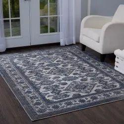Rectangular Gray Blue Area Designer Rug, for Floor