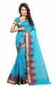 Wedding Wear And Festival Sky Blue Online Beautiful Design Firozi Poly Cotton Saree