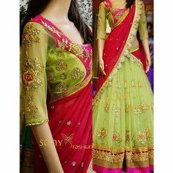 Bollywood Designer Aces Green Georgette Lehenga Chunni