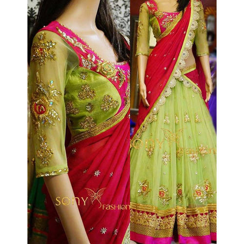 d69a71acaf Bollywood Designer Aces Green Georgette Lehenga Chunni at Rs 1599 ...