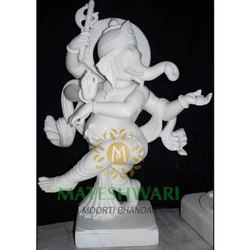 Handmade White Marble Ganesh Statue