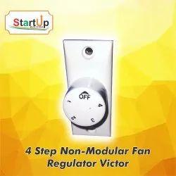 White PVC 4 Step Non Modular Fan Regulator Victor