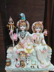 White Marble Parvati and Shiv Ji Statue