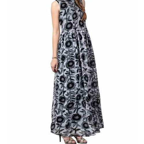 Rayon Fancy Printed Ladies Gown, Size: S-XXL