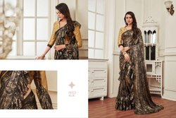Hit Georgette Shimmer Sari Saree For Party Wear Women Dress Indian Ethnic