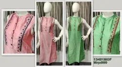Party Wear Kurti With Embroidery On Silk Fabric