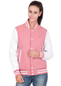 Pink Wool Body With White Leather Sleeves Varsity - Women