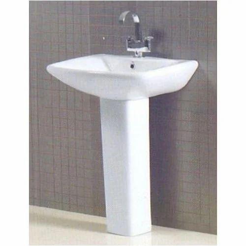 White Ceramic Lexo Wall Mounted Washbasin, Shape