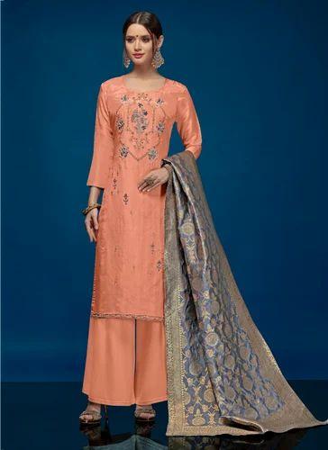 6a2360e251 Silk Peach Color Palazzo Suit, Size: XL, Rs 1545 /piece, Surat ...