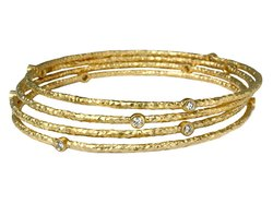 Gold Bangle With White Cz