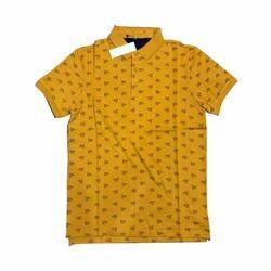Mens Yellow Printed T-Shirt