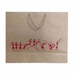 Brown Printed Paper Shopping Bag
