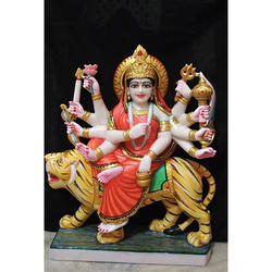 Multicolor Marble Durga Maa Statue