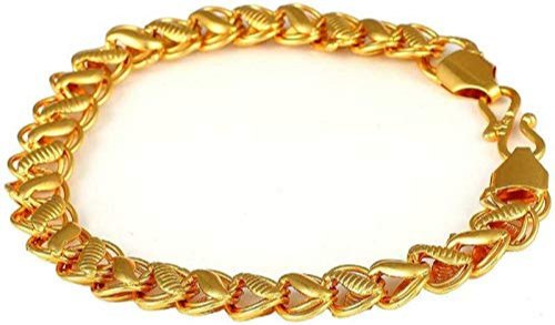 Jewellery Gold Plated Charm Textured Surface Link Chain Design