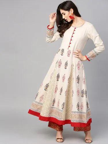 5557039856 Stiched Women Off-White Block Print Anarkali Kurta, Rs 625 /piece ...