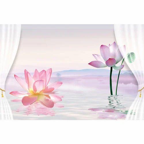 pvc designer lotus wallpaper rs 40 square feet divine walls id